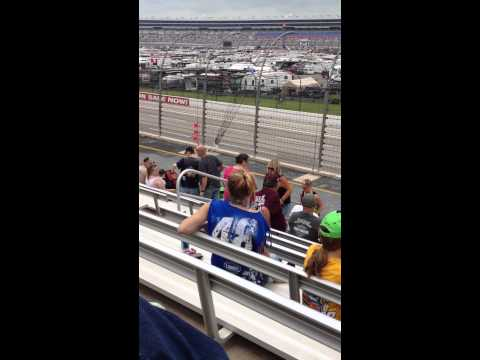 Blonde Girl Dancing at Texas Motor Speedway for Nascar