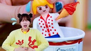 레고 장난감 놀이, 배탈이난 쥬디 / Play with LEGO toys, Do not eat too much ice-cream