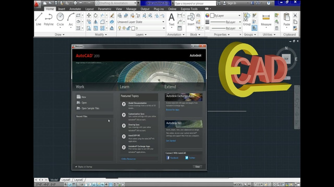 Learning autocad 2013 tutorial 1 autocad introduction youtube baditri Image collections