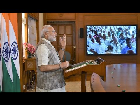 PM Narendra Modi addressing Sri Ram Krishna Vachanmitra Satram, Tiruvalla via VC