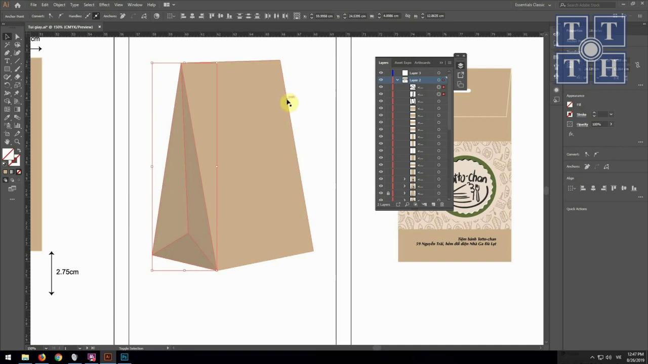 Thiết kế bao bì – Thiết kế túi giấy bằng Illustrator – Trung tâm Tin học Khoa học Tự Nhiên TP.HCM