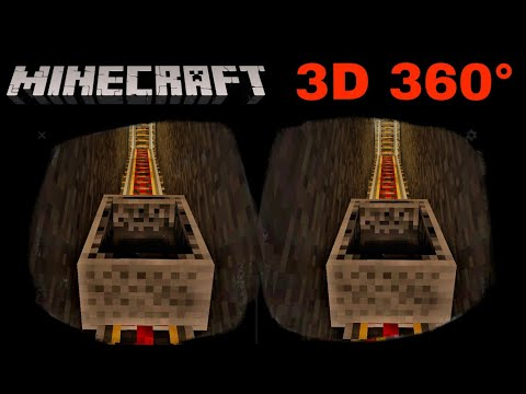 MINECRAFT 3D 360° VR rollercoaster gameplay top/bottom stereoscopic