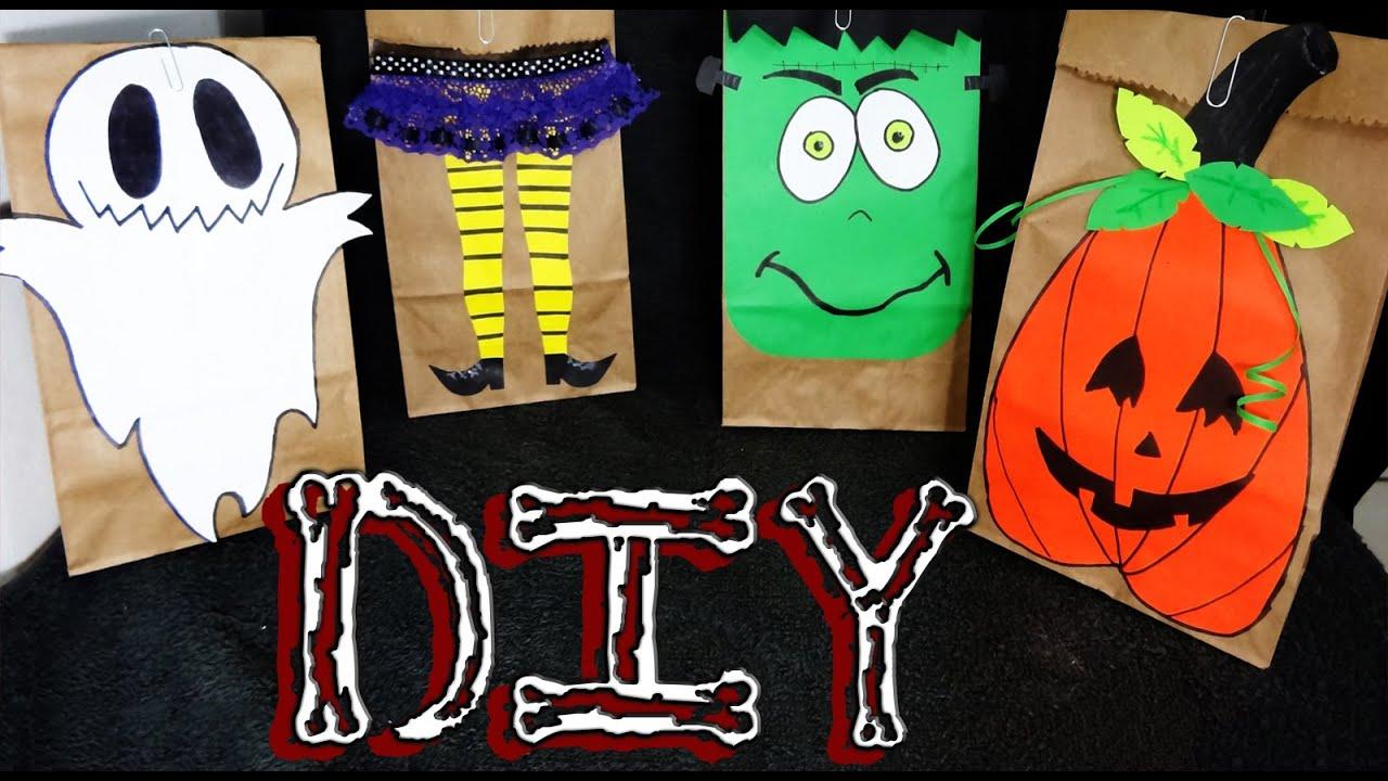 Diy decora bolsas de papel kraft para halloween 4 ideas - Como decorar bolsas de papel ...