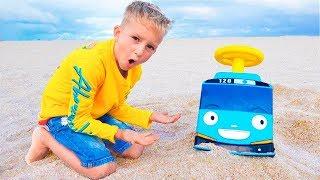 Aventuras de microônibus de brinquedo de Vlad e mamãe