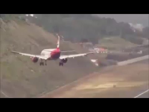 Pousos No Aeroporto Internacional Da Madeira Em Portugal Youtube