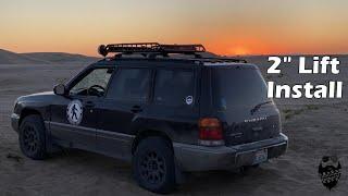 "2"" Subaru Forester lift kit install, Building a budget Overlander."
