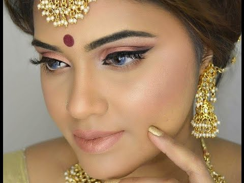 Indian| Bangladeshi| Pakistani Party Or Festive Makeup Look| Gold Glowy Look - YouTube
