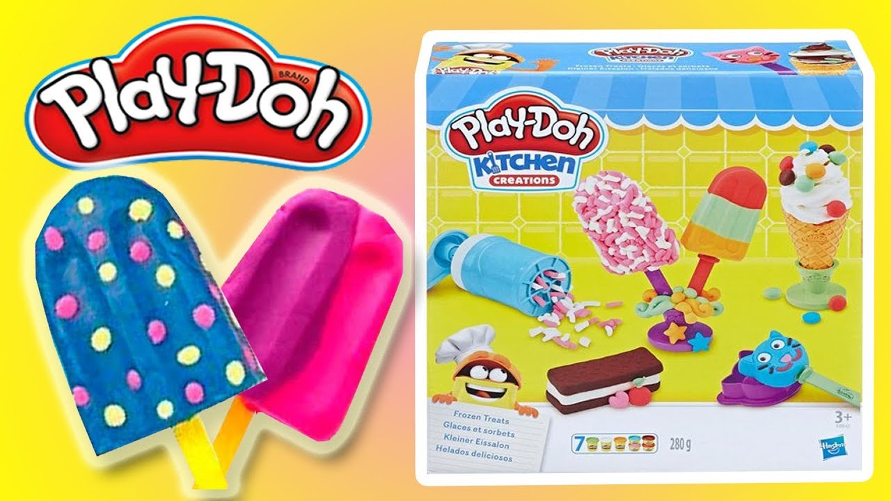 PLAY DOH KITCHEN CREATIONS FROZEN TREATS   MAKE U0026 FUN PLAY| Little Kelly U0026  Friends ToysReview