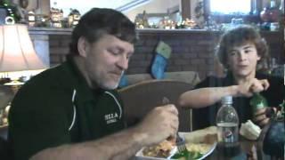 Murphy's Eating Lasagna Christmas 2009