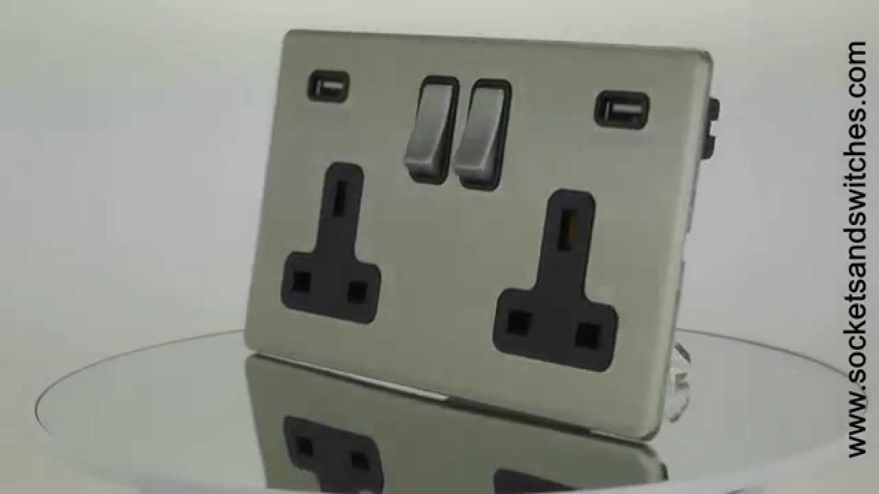 brushed chrome usb plug socket