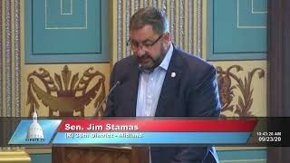 Sen. Stamas speaks to the Senate on the education budget