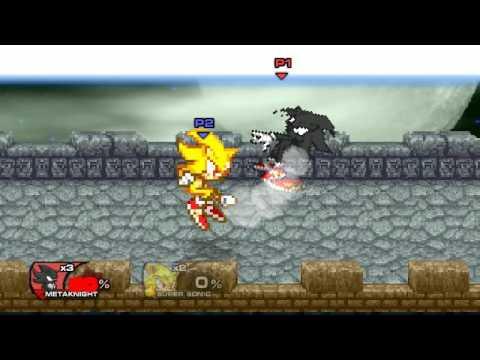 Super Smash Flash 2 Mod dark sonic vs super sonic