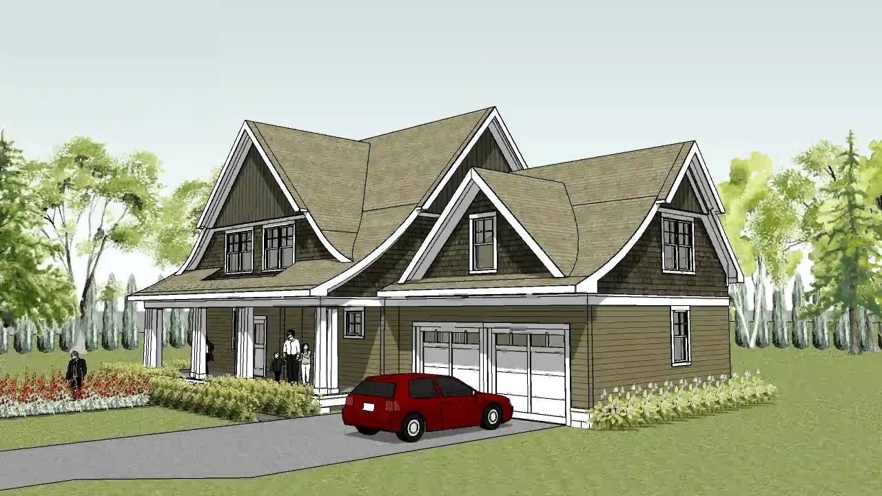 Unique cape cod house plan with curved roof line the for Single roof line house plans