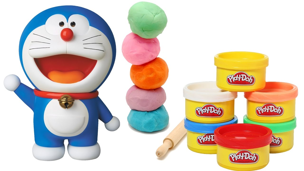 play doh making of doraemon cartoon clay molding easy play doh