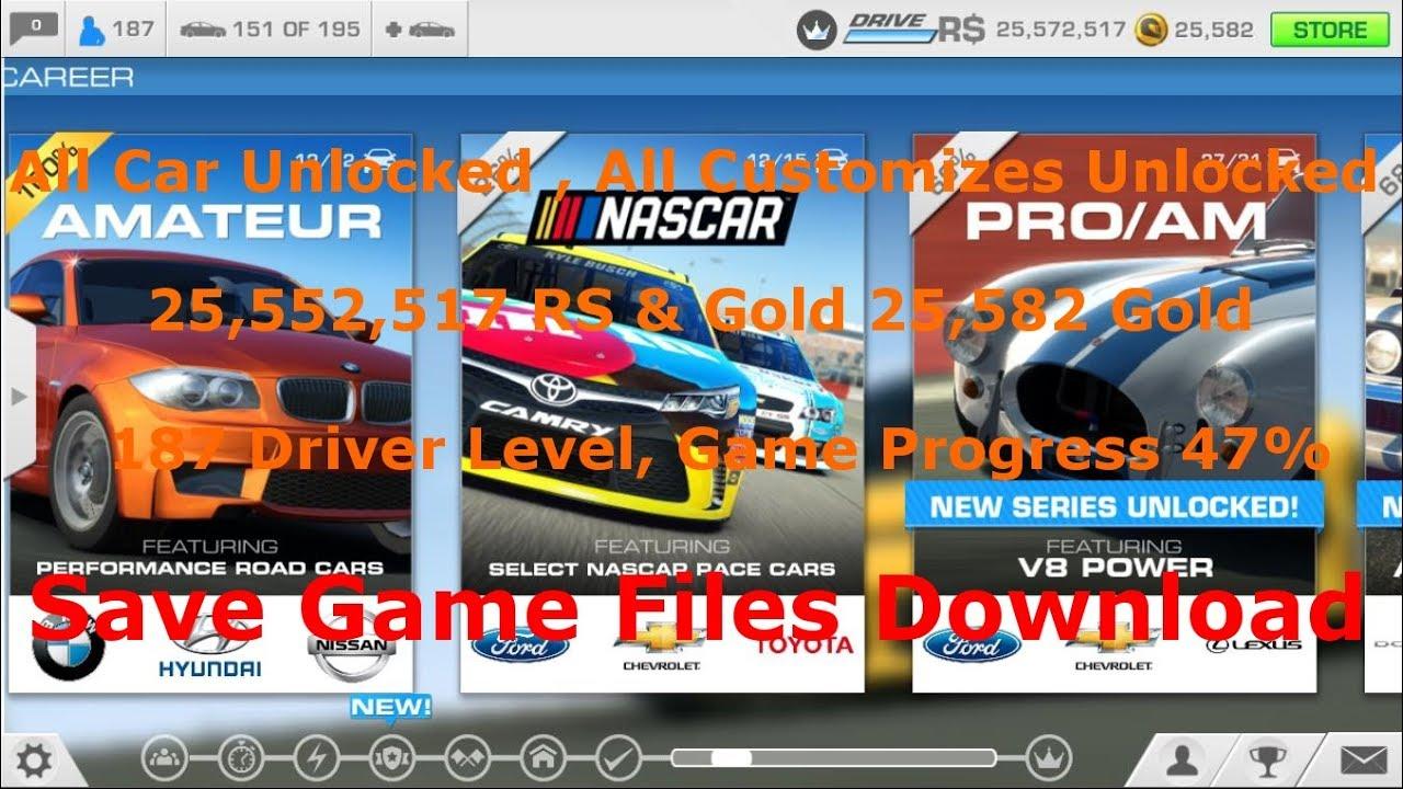 real racing 3 game save