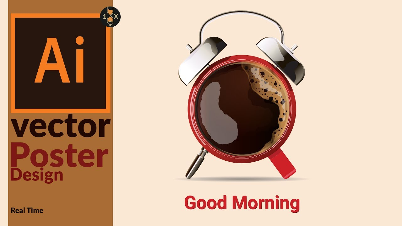 designing a vector poster coffee cup with alarm clock in adobe
