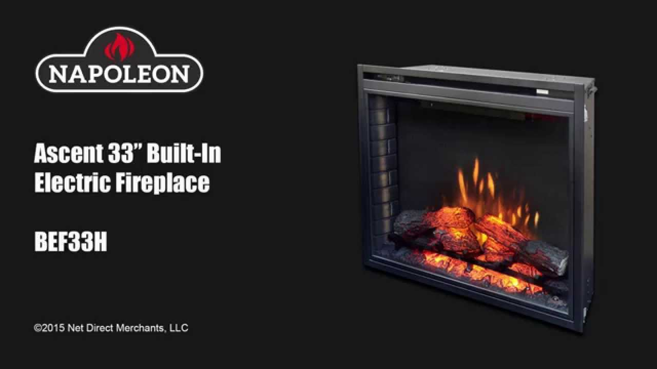 napoleon ascent 33 in built in electric fireplace youtube