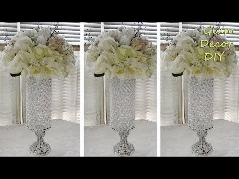 Dollar Tree DIY Glam Crystal Vase Wedding Centerpiece Bling Decor Ideas