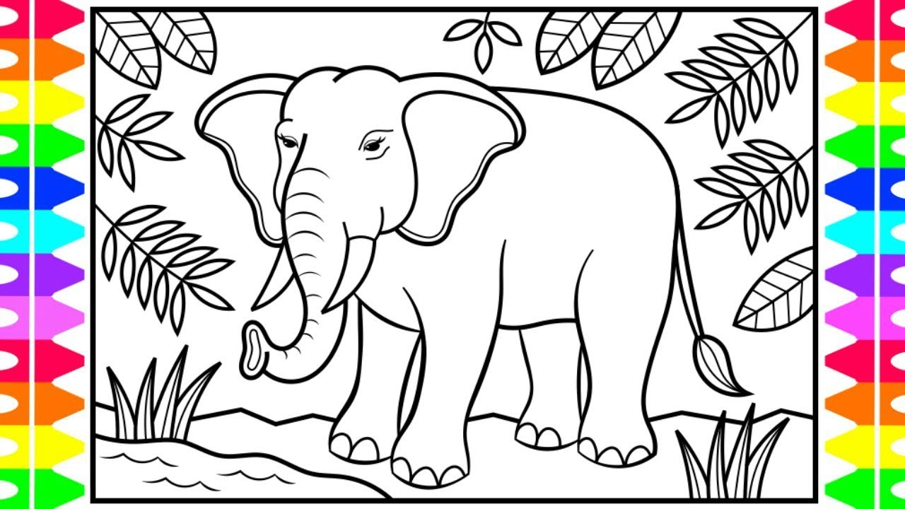 How to Draw an Elephant for Kids 🐘💚💛💙Elephant Drawing for Kids   Elephant Coloring Page for Kids