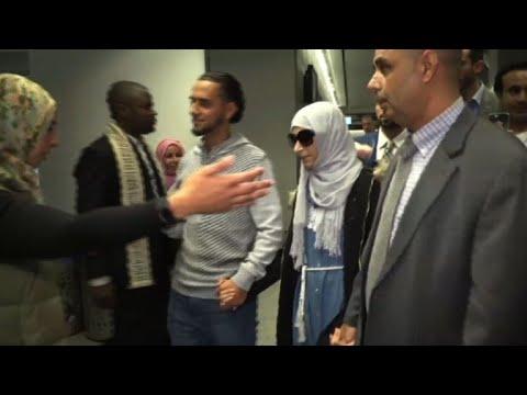 Yemeni mother Shaima Swileh arrives at US airport