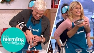 It's Chaos in the Kitchen as Holly and Phillip Get Competitive Making Cocktails... Blindfolded!