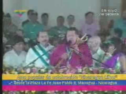 Hugo Chavez in Nicaragua with Daniel Ortega