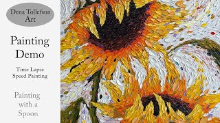 sunflower time lapse palette knife painting demonstration