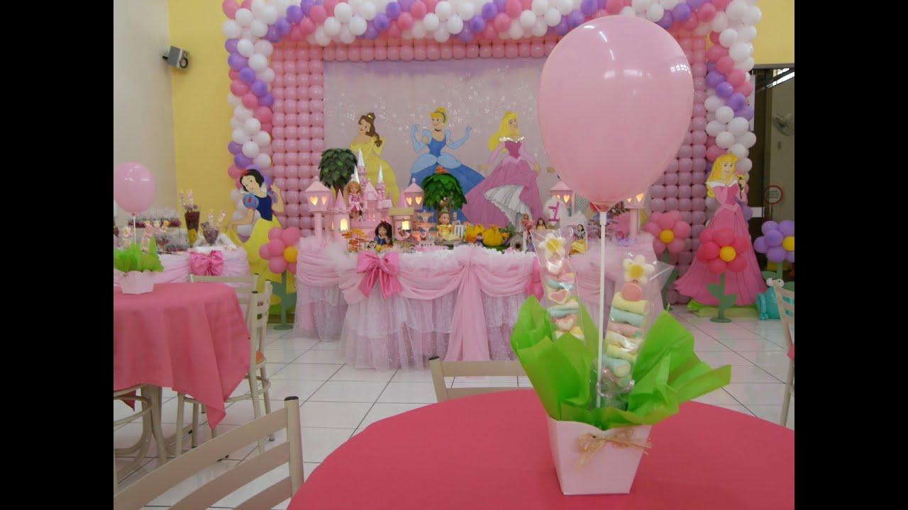 Ideias Decoraç u00e3o e Lembrancinhas Festa Aniversário Princesas Disney YouTube -> Decoração De Festa Das Princesas Da Disney
