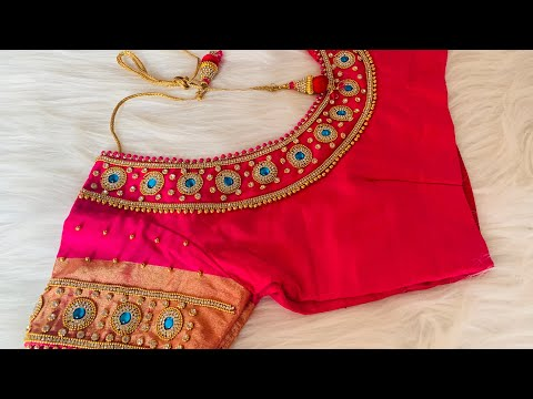 Most Beautiful Blouse Design On Stitched Blouse With Normal Stitching Needle - Same Like Aari/maggam