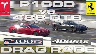 Tesla Model S P100D Ludicrous vs Ferrari 488 GTB Spider 1/4 Mile Drag Race
