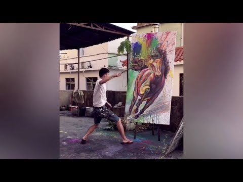 Chinese painter uses impressive skill to create masterpieces