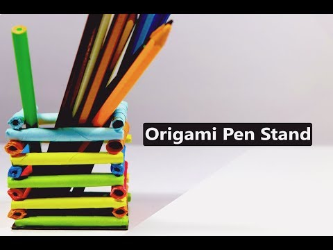 How to Make a Paper Pen Stand - Easy Origami Paper Pencil Holder - DIY Paper Crafts