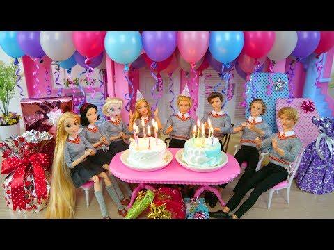 Twin Barbie & Ken's Birthday Party with Friends! Pesta ulang tahun Barbie Festa de aniversário