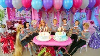 Twin Barbie & Ken ' s Birthday Party with Friends! Pesta ulang tahun Barbie jubiläums-Festa