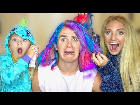 Savannah and Everleigh PRANKED me AGAIN!!! UNICORN HAIR PRANK...