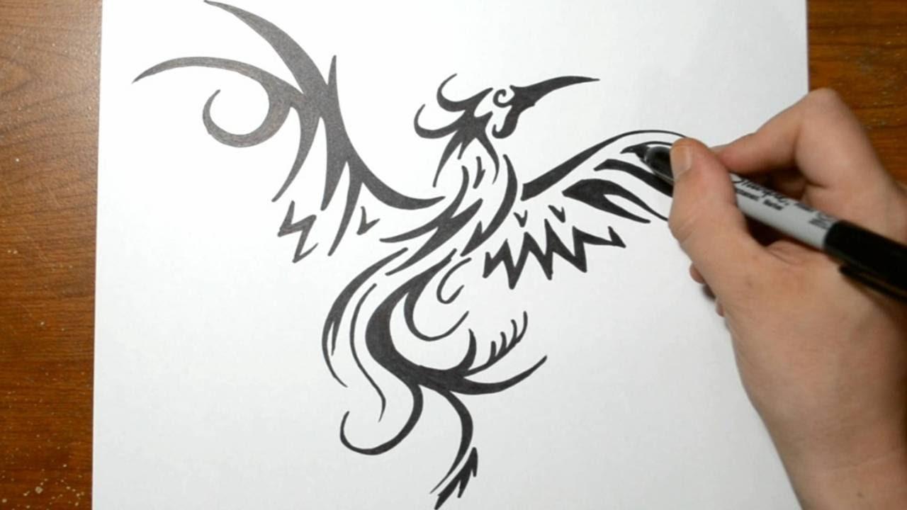 How To Draw A Tribal Phoenix YouTube
