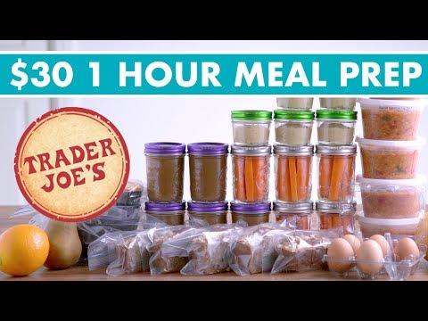 $30 Trader Joe's ONE HOUR Meal Prep Budget Challenge! Vegetarian  Mind Over Munch