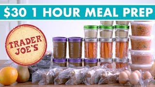 $30 Trader Joe's ONE HOUR Meal Prep Budget Challenge! (Vegetarian) - Mind Over Munch