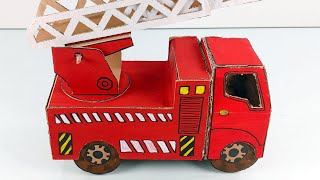 Paper Craft for Kids, Making The Fire truck with Cardboard.