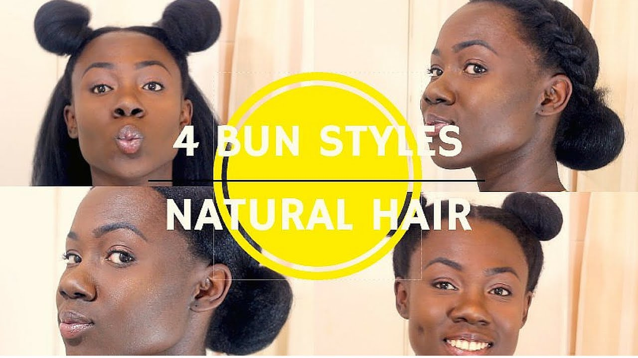 natural hair | quick bun styles on blown-out hair - youtube