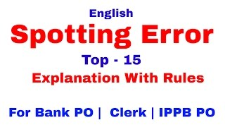 Spotting Error In English Tricks For Bank PO | Clerk | IPPB PO [In Hindi]