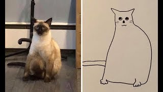 Jay Cartner Tries Drawing His Cat & Dog, Accidentally Starts Creating Masterpieces