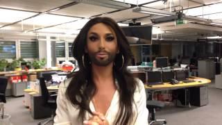 Conchita Wurst clip greetings before ZIB2 TV show
