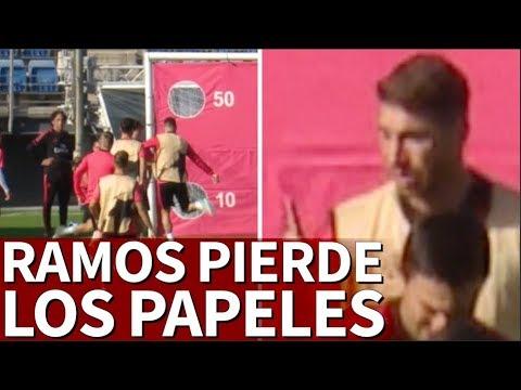 Tensión en Valdebebas: Ramos se pica y le tira dos balonazos a Reguilón | Diario AS