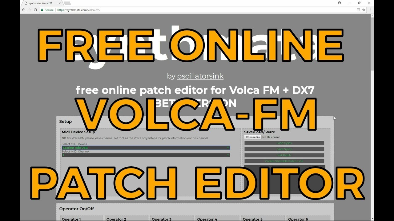 Synthmata - Free Online Patch Editor for Volca FM and DX-7