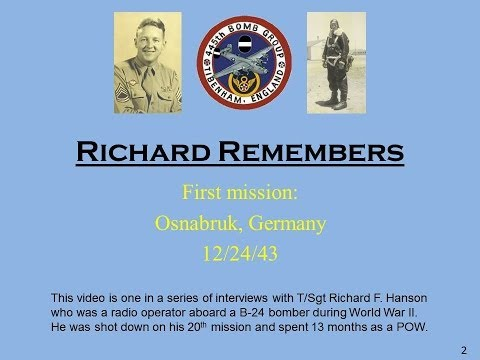 Richard Remembers - WWII:  First mission, Osnabruk, Germany 12/24/43 (#2)