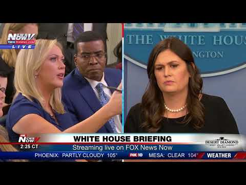 TENSE MOMENTS: Between reporters, Sarah Sanders at White House press briefing (FNN)