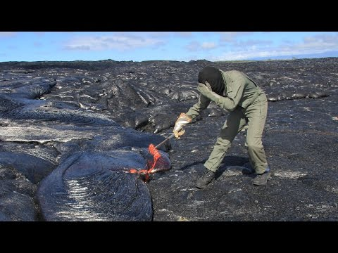 POV Of Geologists Collecting Lava