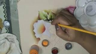 Rosa Branca – Pintura em Tecido
