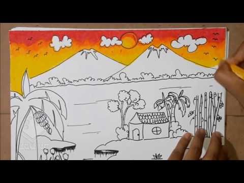 Mewarnai Pemandangan Sawah Gunung Warna Gradasi Crayon Part2 Youtube